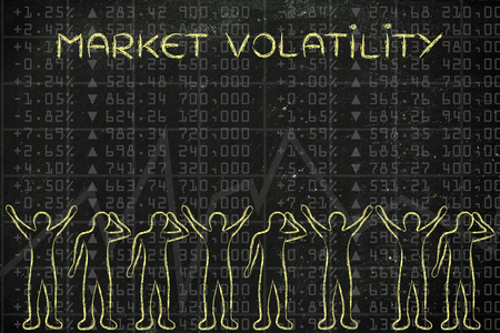 market volatility: group of traders with mixed feelings, happy or sad