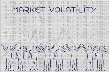 traders: market volatility: group of traders with mixed feelings, happy or sad