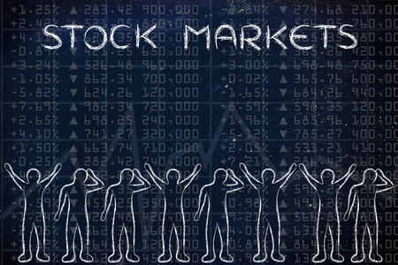 stock traders: stock markets: group of traders with mixed feelings, happy or sad