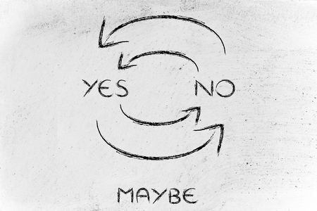 evolving: a cycle of doubts: arrows continuously moving from Yes to No