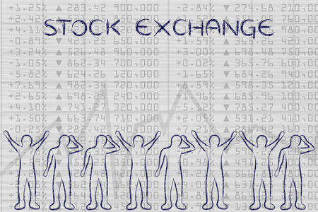 traders: stock exchange: group of traders with mixed feelings, happy or sad
