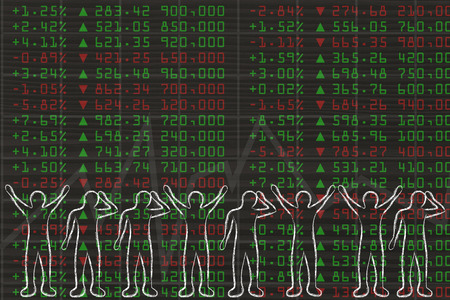 traders: stock markets perfomance: group of traders with mixed feelings, happy or sad