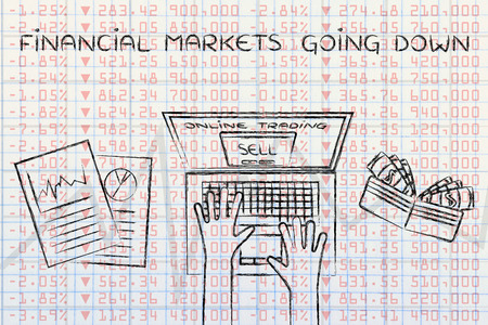 selling stocks: financial markets going down: computer user selling stocks online