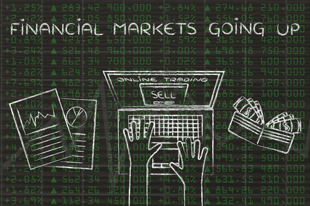 selling stocks: financial markets going up: computer user selling stocks online