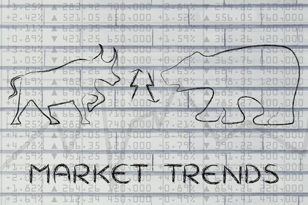 market trends: market trends: bull & bear with up and down arrows on stock exchange background