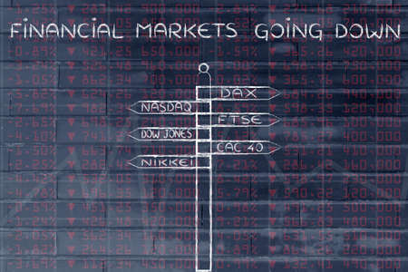indexes: financial markets going down: directions sign with names of the main international indexes