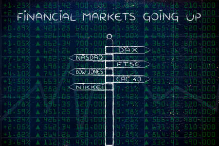 indexes: financial markets going up: directions sign with names of the main international indexes Stock Photo