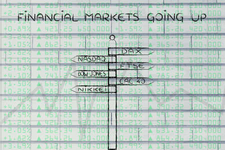 futures: financial markets going up: directions sign with names of the main international indexes Stock Photo