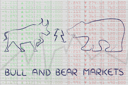 futures: bull & bear markets: animals with up and down arrows on stock exchange background
