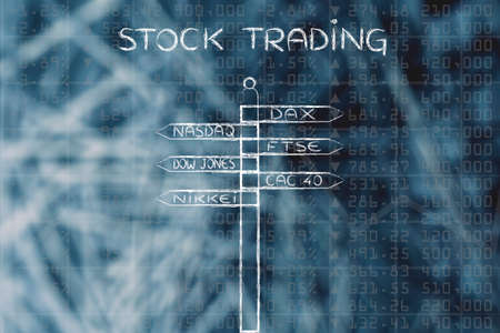 indexes: stock trading: directions sign with names of the main international market indexes