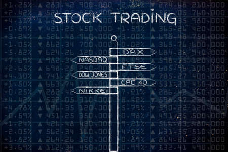 futures: stock trading: directions sign with names of the main international market indexes