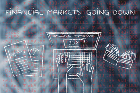 futures: financial markets going down: computer user buying stocks online Stock Photo