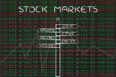 indexes: stock markets: directions sign with names of the main international indexes
