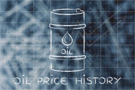 historique des prix du pétrole: le baril au cours bourse performance de l'indice de fond Banque d'images