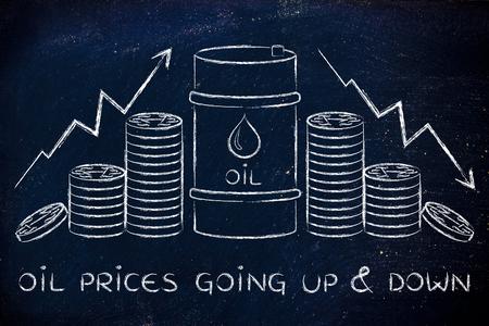 les prix du pétrole va de haut en bas: le baril et des pièces de monnaie, avec des flèches de taux de prix