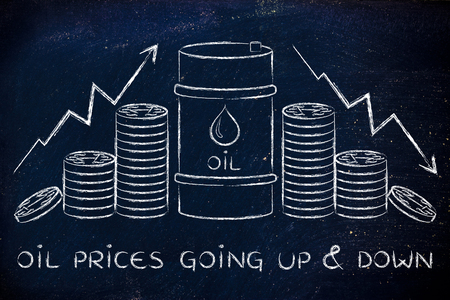 PRICE: oil prices going up & down: barrel and coins, with price rate arrows
