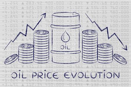 les prix du pétrole évolution: le baril et pièces de monnaie, avec des flèches de taux de prix