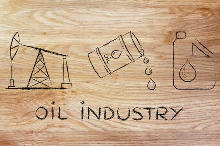 industrie pétrolière: la prise de la pompe, le baril et le réservoir, plat contour illustration