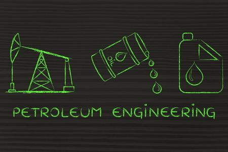 petroluem: petroleum engineering: pump jack, barrel and tank, flat outline illustration Stock Photo
