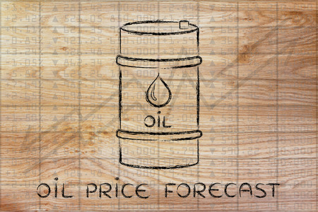 barell: oil price forecast: barrel over stock exchange index performance background