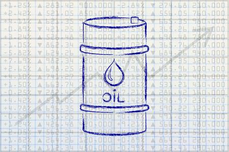 barell: barrel of oil over stock exchange index performance background, flat ouline illustration