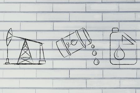 pump jack: pump jack, oil barrel and tank, flat outline illustration Stock Photo