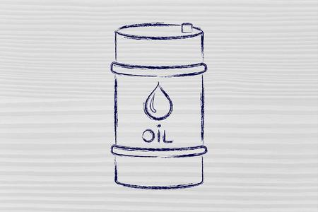 baril de pétrole, contour plat illustration