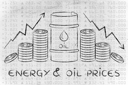 l'énergie et les prix du pétrole: le baril et les pièces, avec des flèches de taux et bourse fond Banque d'images