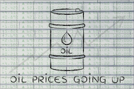 petroluem: oil prices going up: barrel over stock exchange index performance background