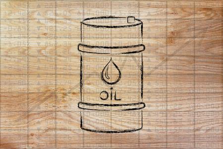 petroluem: barrel of oil over stock exchange index performance background, flat ouline illustration