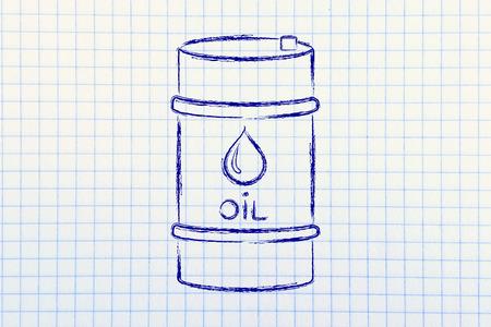 petroluem: barrel of oil, flat outline illustration