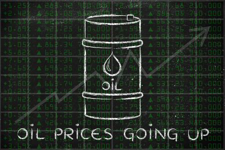barell: oil prices going up: barrel over stock exchange index performance background