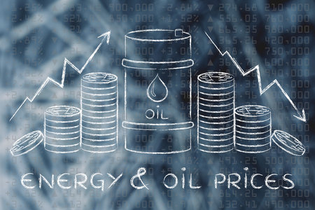 l'énergie et les prix du pétrole: le baril et les pièces, avec des flèches de taux et bourse fond