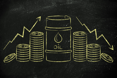 petroluem: barrel of oil and coins, with up and down price rate arrows
