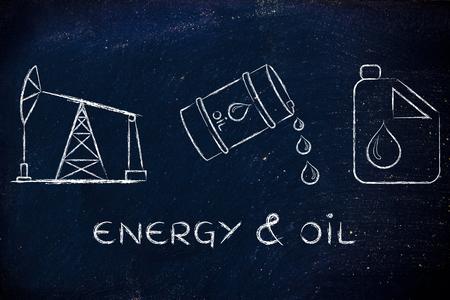 l'énergie et l'huile: pompe jack, le baril et le réservoir, plat contour illustration