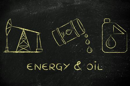petroluem: energy & oil: pump jack, barrel and tank, flat outline illustration