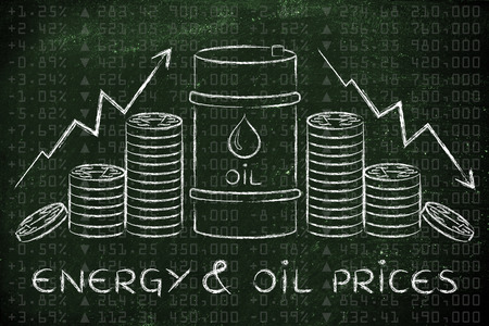 barell: energy & oil prices: barrel and coins, with rate arrows and stock exchange background