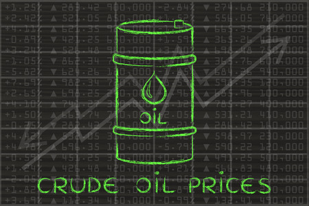 petroluem: crude oil prices: barrel over stock exchange index performance background Stock Photo