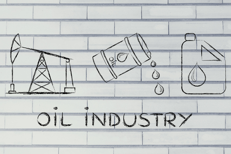 industrie pétrolière: la prise de la pompe, le baril et le réservoir, plat contour illustration Banque d'images