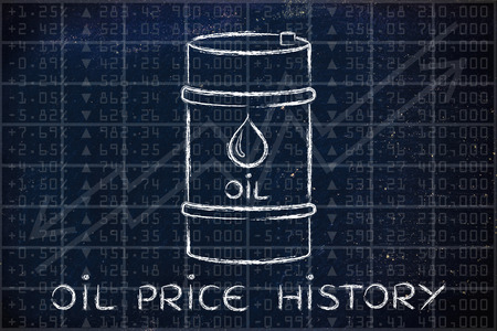 barell: oil price history: barrel over stock exchange index performance background Stock Photo