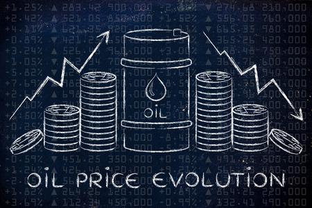 les prix du pétrole évolution: le baril et pièces de monnaie, avec des flèches de taux de prix Banque d'images
