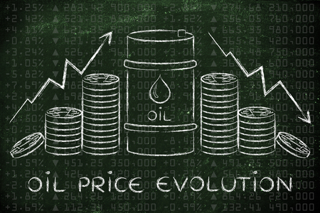 petroluem: oil prices evolution: barrel and coins, with price rate arrows