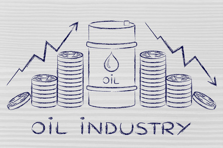oil industry: barrel and coins, with price rate arrows