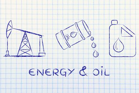 pump jack: energy & oil: pump jack, barrel and tank, flat outline illustration