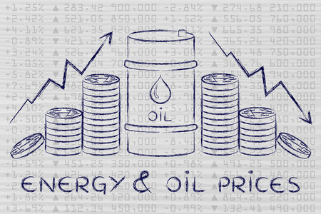 petroluem: energy & oil prices: barrel and coins, with rate arrows and stock exchange background