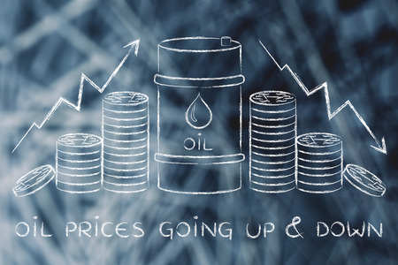 barell: oil prices going up & down: barrel and coins, with price rate arrows