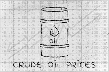 barell: crude oil prices: barrel over stock exchange index performance background Stock Photo
