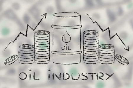 petroluem: oil industry: barrel and coins, with price rate arrows