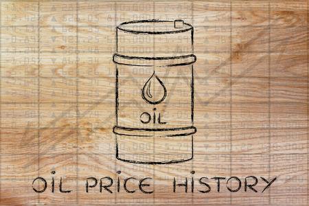 petroluem: oil price history: barrel over stock exchange index performance background Stock Photo