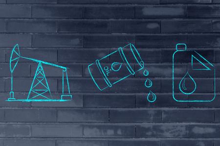 petroluem: pump jack, oil barrel and tank, flat outline illustration Stock Photo